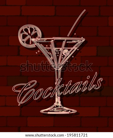 Cocktails neon sign over a brick wall - stock photo