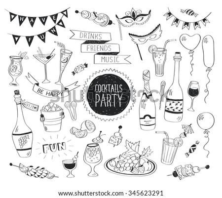 Cocktails party doodle set. Hand drawn beverages icons isolated on white background. Doodle food and drinks. Beverages, glass, bottles, fruits, snacks, masks. - stock photo
