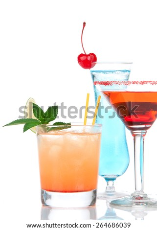 cocktails red alcohol cosmopolitan cocktail decorated with citrus lemon in martini cocktails glass and yellow summer margarita isolated on a white background - stock photo