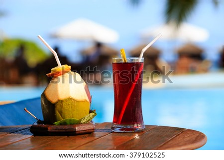 cocktails served on luxury tropical resort in Maldives - stock photo