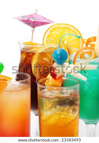 Cocktails - Tequila Sunrise, Sex On The Beach, Blue Hawaii. Isolated on White Background