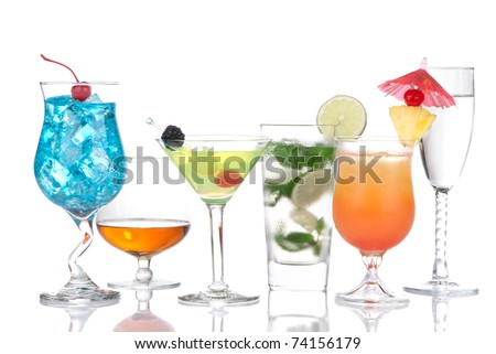 Cocktails variation. Blue Curacao hawaiian, mojito, sex on the beach, tequila sunrise, cognac, martini, tequila sunrise in cocktail glasses isolated on a white background - stock photo