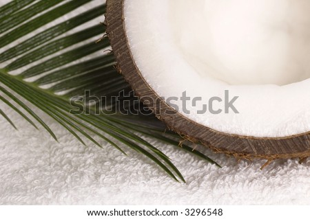 coco bath. coconut, towel anh palm leaf. exotic scene - stock photo