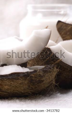 coco bath items. coconut, milk, towel. white spa - stock photo