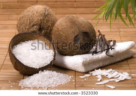 coco bath items. towel, salt, coconut, vanilla. spa - stock photo