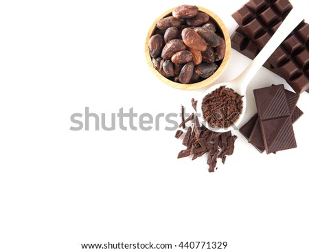 Cocoa and chocolate on a white background. - stock photo