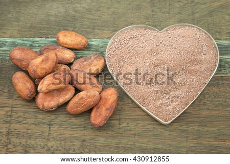 Cocoa and chocolate on wooden background, close up