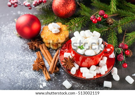 cocoa and cookies about marshmallows and Christmas balls on a table, selective focus, copy space