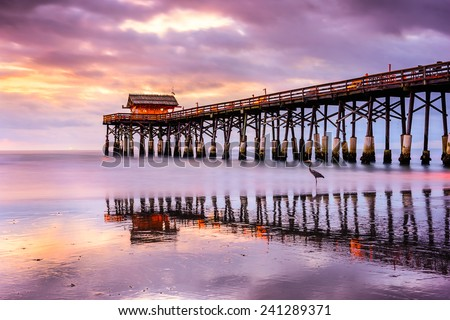 Cocoa Beach, Florida, USA at the pier. - stock photo