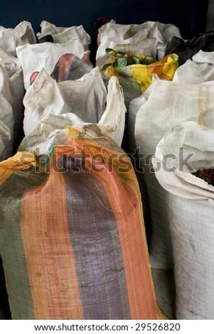 Cocoa bean bags in Peru - stock photo