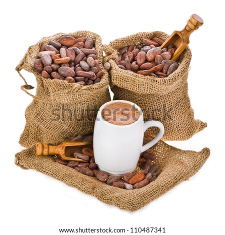 cocoa beans in bags of canvas, a mug of cocoa drink, isolated on white background - stock photo