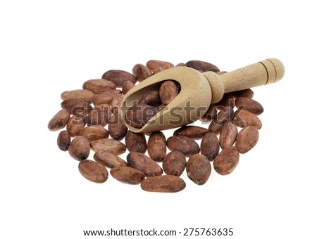 cocoa beans with wooden scoop isolated on white background .Shallow depth of field. - stock photo