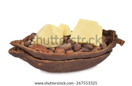 Cocoa butter isolated on white background - stock photo