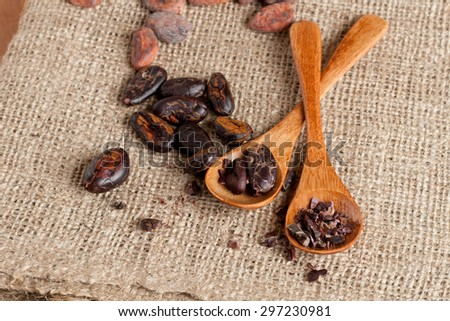 Cocoa (cacao) beans, horizontal, close up - stock photo