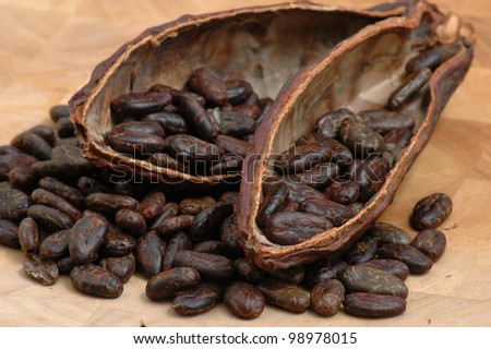Cocoa (cacao) beans on a beanpod with focus on foreground. - stock photo