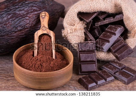 cocoa fruit on a white background - stock photo