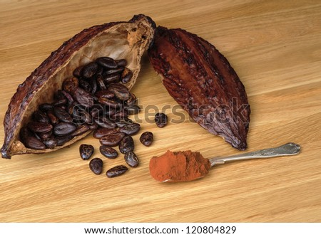 Cocoa fruit with beans and  spoon full of cocoa powder on a wooden table - stock photo