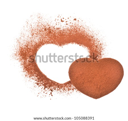 cocoa -  heart shape made from cocoa powder isolated on a white background - stock photo