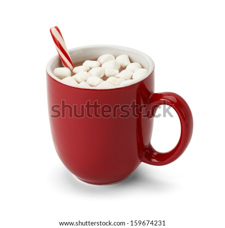 Cocoa in Red Mug with Marshmallows and Candy Cane Isolated on White Background. - stock photo