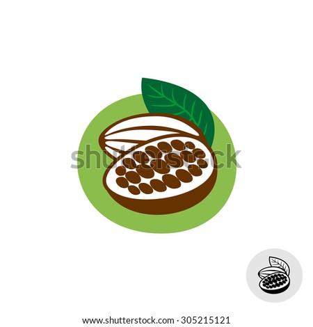 Cocoa pod with beans badge symbol - stock photo