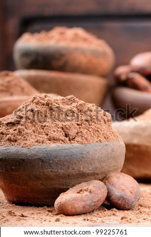 Cocoa powder and beans in rustic ceramic bowl - stock photo