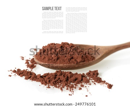 cocoa powder and wooden tea spoon - stock photo