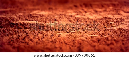 Cocoa powder  close-up background.  Selective focus