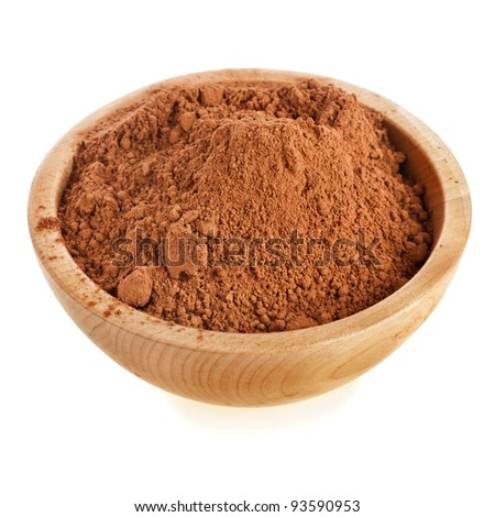cocoa powder in a bowl  isolated on white background - stock photo
