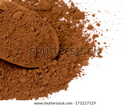 cocoa powder in a scoop isolated on white