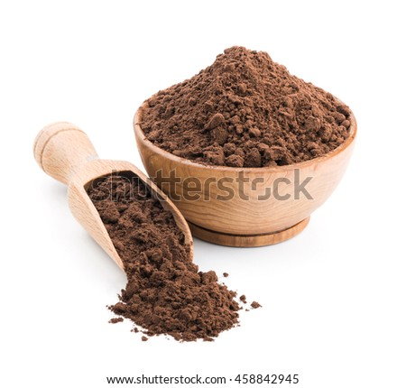 Cocoa powder in a wooden bowl isolated on white - stock photo