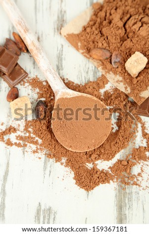 Cocoa powder in spoon on wooden table