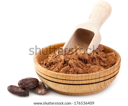 Cocoa powder in wooden bowl and cacao beans isolated on white background - stock photo