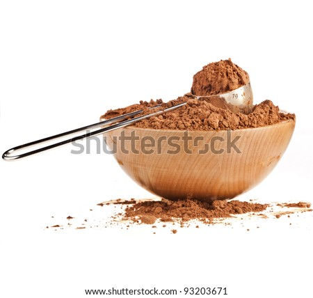 cocoa powder  isolated on white background - stock photo
