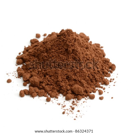 Cocoa powder pile on white background - stock photo