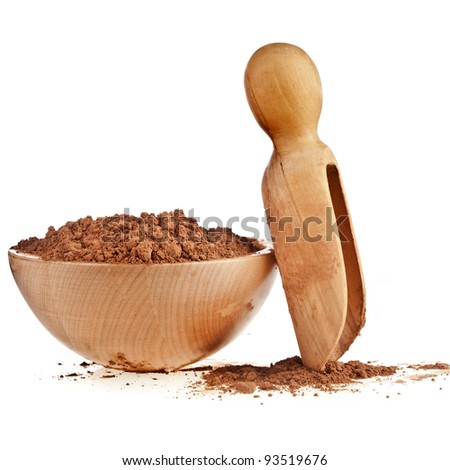 cocoa powder with wooden bowl and scoop isolated on white background - stock photo
