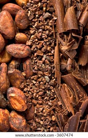 cocoa, raw chocolate, shavings, label origin - stock photo