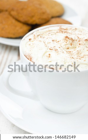 cocoa with cinnamon and whipped cream, oatmeal cookies in the background, close-up