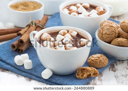 cocoa with marshmallows and almond cookies, horizontal - stock photo