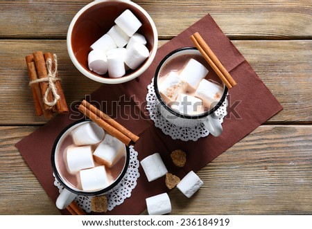 Cocoa with marshmallows in a cup, dessert - stock photo