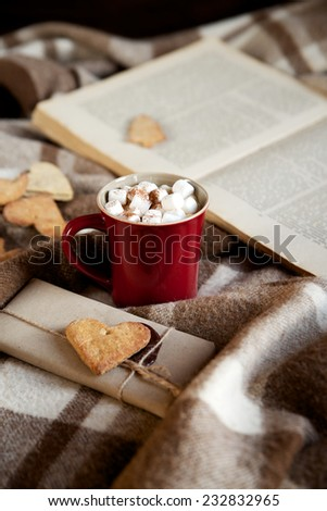 Cocoa with marshmallows on a plaid blanket with a book in the background, selective focus - stock photo