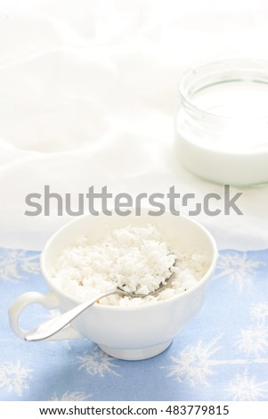 Coconut and coconut milk. Selective soft focus with copy space for text.