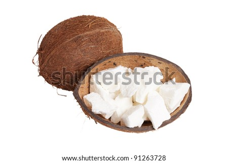 Coconut and coconut oil isolated on white background - stock photo