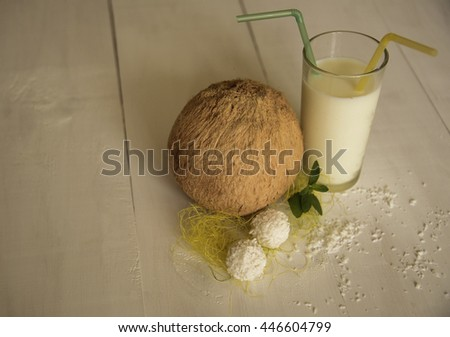 Coconut and glass of milk