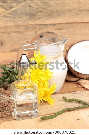 Coconut and milk , oil coco for organic healthy food and beauty spa - stock photo