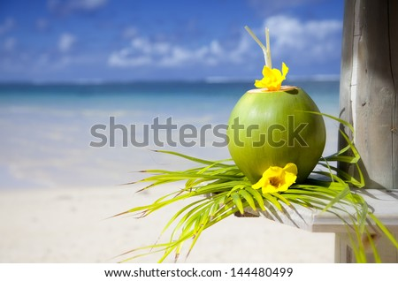 Coconut at the beach of Mauritius  - stock photo