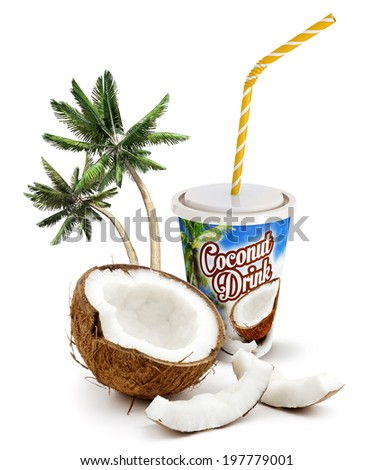 coconut beverage with fresh coconut and palm trees - stock photo