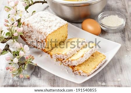 Coconut cake - stock photo