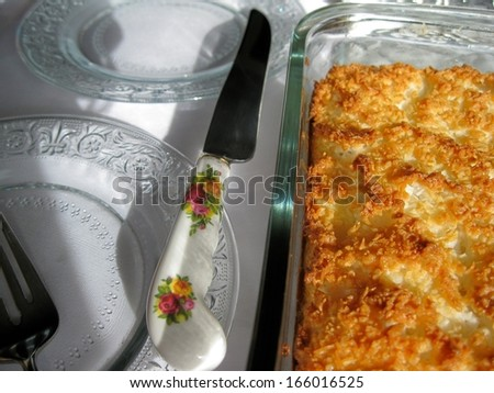 Coconut cake is served - stock photo