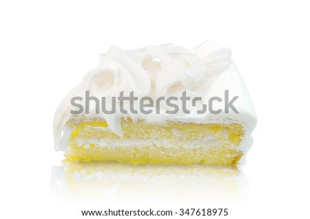 Coconut cake on a white background.