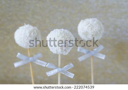 Coconut cake pops - stock photo